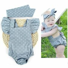 Cute Infant Baby Girl Clothes Polka Dot Backless Romper Bodysuit Sunsuit Outfits