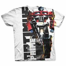 Official Mens Transformers Optimus Prime All-over Printed T-Shirt - White Loose