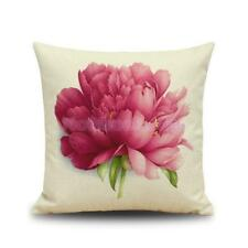 Flowers and Leaves Printed Pillow Cover Cushion Case Pure Linen Home Sofa Décor
