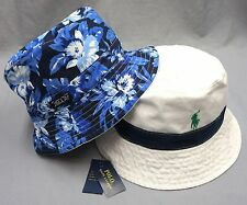 NWT POLO RALPH LAUREN REVERSIBLE BUCKET HAT CAP Mens Blue White Floral New