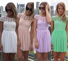 Sexy Womens Lace Chiffon Dress Backless Pleated Party Evening Beach Skater Dress