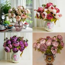 Artificial Peony Silk Blooms Flower Bouquet Foral Rustic Wedding Home DIY Decor