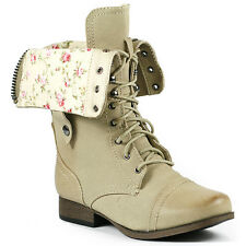 Natural Beige Floral Fold Down Mid Calf Lace Up Military Combat Boots Wild Diva