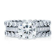 BERRICLE Sterling Silver Cushion CZ Solitaire Engagement Ring Set 2.9 Carat
