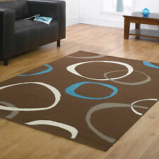 BROWN BLUE LARGE MODERN SOFT FLASH CLEARANCE SALE DISCOUNT 8-10mm QUALITY RUGS