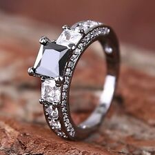 Free Shipping Square Sapphire Ring 10KT Black Gold Filled Wedding Women Jewelry