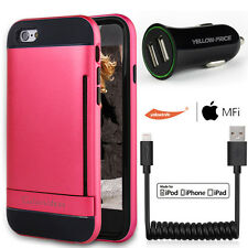 Double Layer Slim Soft Pink Apple iPhone 6 6S Case Black Coiled Lightning Cable