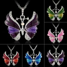 Butterfly Crystal Rhinestone Pendant Necklace Chain Women Christmas Jewelry Gift