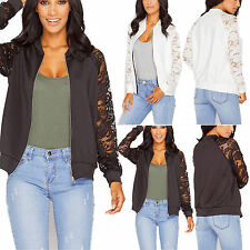 Womens Bomber Jacket Celebrity Zip Biker Style Coat Lace Long Sleeve Nude Floral
