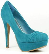 Teal Blue Velvet Pleated High Stiletto Heel Round Toe Platform Pump Bamboo
