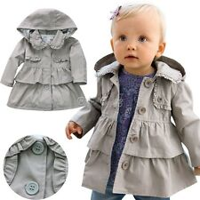 Baby Toddler Kid Girl Spring Fall Trench Coat Wind Jacket Hooded Outwear Clothes