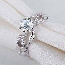 Round White AAA CZ 925 Sterling Silver Flower Engagement Wedding Ring Size 5-10