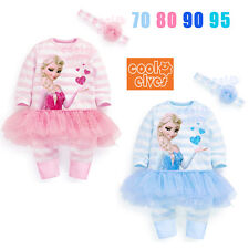 2Pcs Baby Girl Striped Romper Pants Tutu Dress+Headband 0-24M Frozen Elsa Outfit
