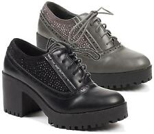 LADIES HIGH BLOCK HEEL DIAMANTE ANKLE BOOTS SMART OFFICE BROGUES LACE UP SHOES