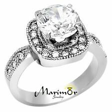 3 Ct Round Cut Cubic Zirconia Stainless Steel Halo Engagement Ring Size 5-10
