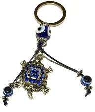 Evil Eye Key Ring or Car Charm 1 big Turtle and 2 hanging Evil Eyes