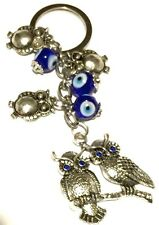 Evil Eye Key Ring or Car Charm 2 sitting owls & smaller hanging Owls & evil eyes