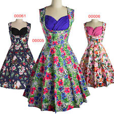 Sexy Women Sleeveless Floral Skater Gown Housewife Herburn Party Swing Tea Dress