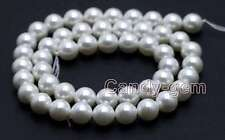 """SALE Small 8mm Round High Quality White Sea shell Pearl beads strands 15""""-los677"""
