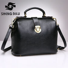Hot 100% Genuine Cowhide Leather Women Satchel Doctor Handbag Purse Shoulder Bag