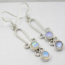 925 Silver Long Earrings Faceted MOONSTONE & Choose Other Gemstones Variation