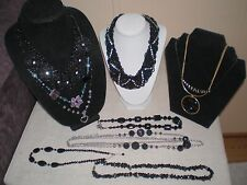 10 Lot Black Fashion Necklaces w/ Colored Accents Chunky Dangle Statement Beads+
