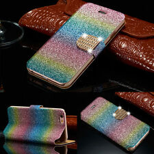 Luxury Bing Colorful Leather Case Magnetic Flip Wallet Cover For iPhone Samsung