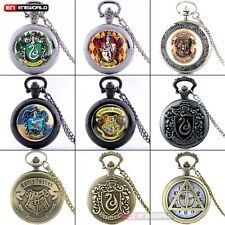 Harry Potter Hogwarts Vintage Pocket Watch Quartz Pendant Necklace Chain Retro