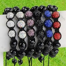 1pc Polymer Clay Crystal Hematite Ball Beads Macrame Woven Bracelet  Jewelry