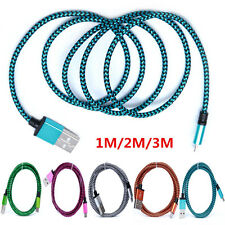 1M/2M/3M Nylon Braided Aluminum Micro USB Data Sync Charge Cable For Samsung Lot