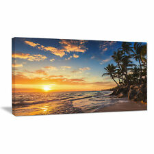 Paradise Tropical Island Beach with Palms Photographic Print on Wrapped Canvas