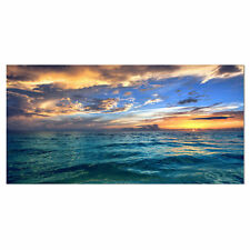 Design Art Exotic Tropical Beach at Sunset Photographic Print on Wrapped Canvas