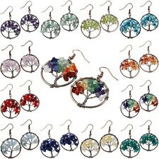 Gemstone Chip Wire Wrap Copper Plated Tree of Life Dangle Drop Earring Jewelry