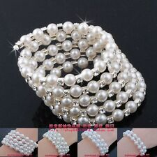 1-6 Rows Crystal Cubic Zirconia Pearl Bracelet Simulated Rhinestone CZ wholesale