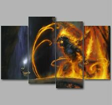 XL The Lord of the Rings Gandalf Balrog 4 Panel Split Canvas Picture Wall Art