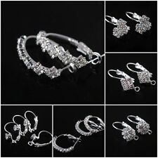 Fashion Women Shiny Rhinestone Silver Plated Earring Hook Findings Wires
