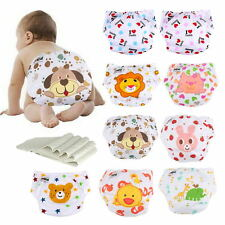 5×Adjustable Lovely Printing Baby Washable Reusable Cloth Diaper Nappies+5Insert