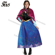 Adult Frozen Anna Ladies Fancy Dress Cosplay Halloween Festival Costume Party