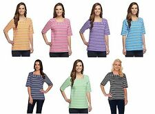 NEW DENIM & CO. Multi Elbow Sleeve Striped Knit Top Button Detail Many Sz 240181