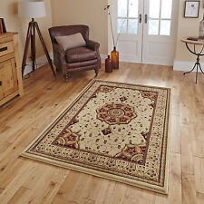 CREAM RED LARGE MEDALLION CARVED RUNNER CIRCLE RUG 14mm THICK CLASSIC LUXURY RUG