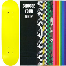 "Skateboard Deck Pro 7-Ply Canadian Maple NEON YELLOW With Griptape 7.5"" - 8.5"""