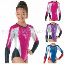 NEW Tri Color Foil Metallic Mystique Gymnastics Competition Leotard Rhinestones