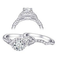 9*13 Radiant White CZ 925 Sterling Silver Wedding Engagement Ring Set Size 5-10