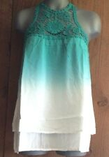 new ENTRO SHIRT blouse TANK TUNIC crocheted OMBRE TEAL IVORY MD LG racerback