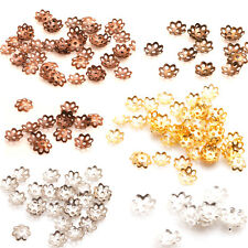 200Pcs Silver/Gold/Copper/Bronze/White K Plated Metal Flower Bead Caps 6mm
