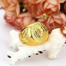 Mens Punk Style Rap Ring 18K Real Gold Filled Lion Head Ring Europe Hip Hop Gift