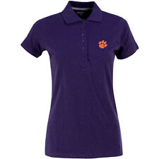Antigua Women's Clemson Tigers Spark 100% Cotton Washed Jersey 6-Button Polo