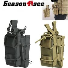 1000D MOLLE Tactical Military Open Double Rifle and Single Pistol Mag Pouch Bag