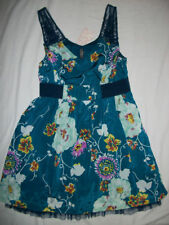 NWT $128 Free People Lace Strap Teal Floral Dress 12 (runs small 8/10)