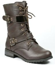 Dark Brown Faux Leather Lace Up Gold Buckle Straps Military Mid Calf Combat Boot